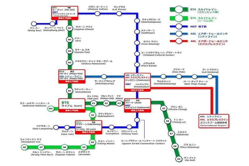 タニヤパッポン行き方BTS・MRT駅近ホテルから交通・時間と運賃