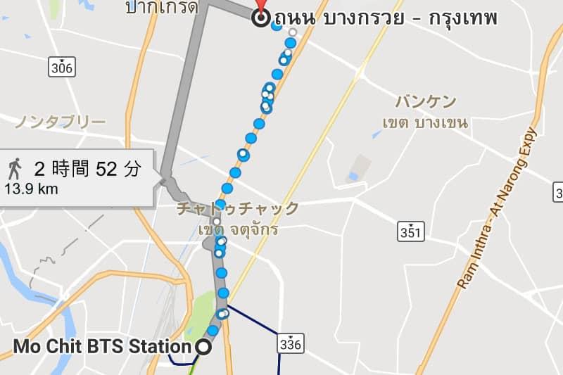 モーチット駅からイミグレまでの大まかなマップ