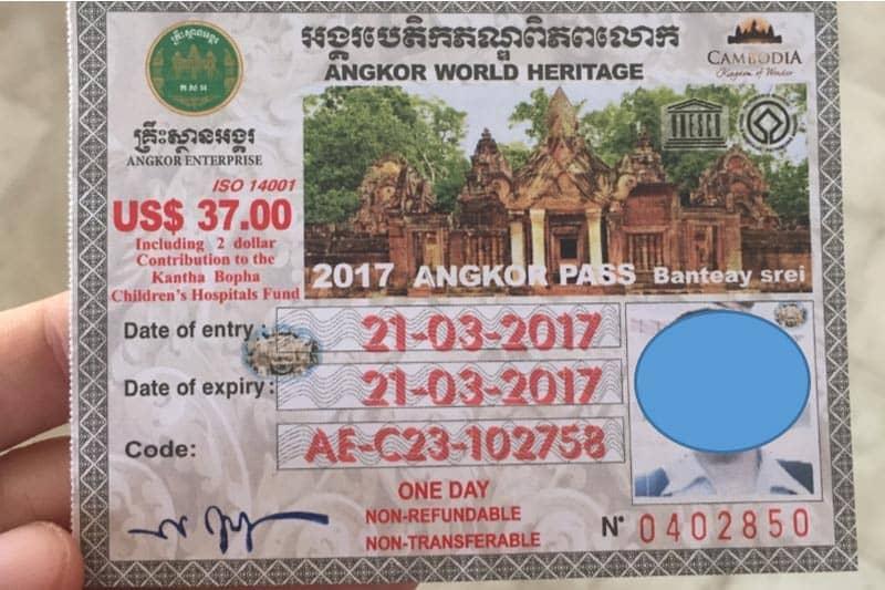 アンコールワットと周辺寺院の入場券。顔写真付きです